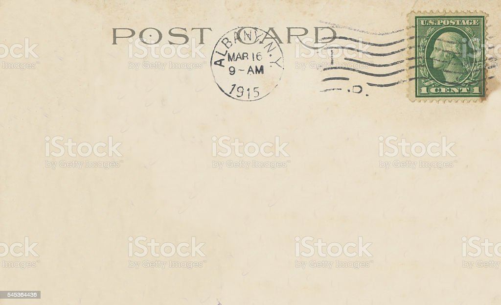 Antique Postcard Back Albany New York 1915 Copy Space stock photo