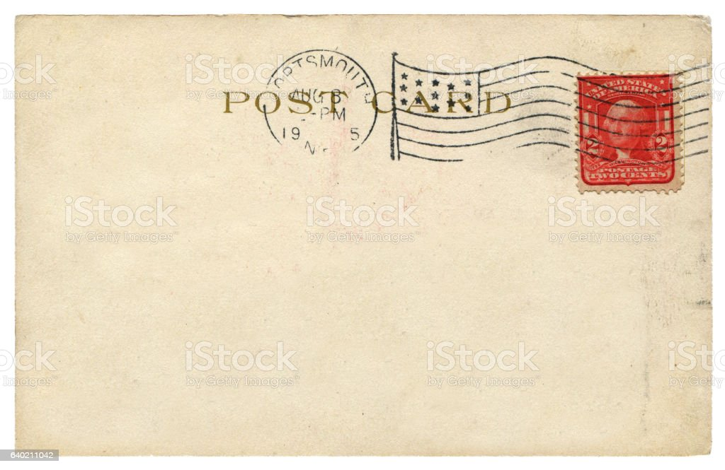 antique postcard with Washington stamp from USA in early 1900s stock photo