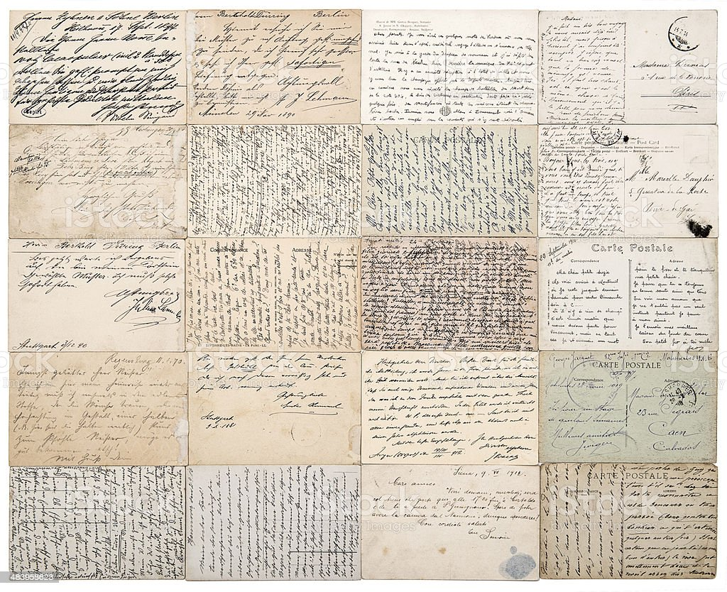 antique postcards. vintage papers background stock photo