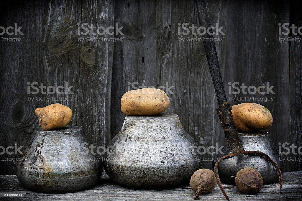 antique pots for cooking fork retro vintage rustic style stock photo
