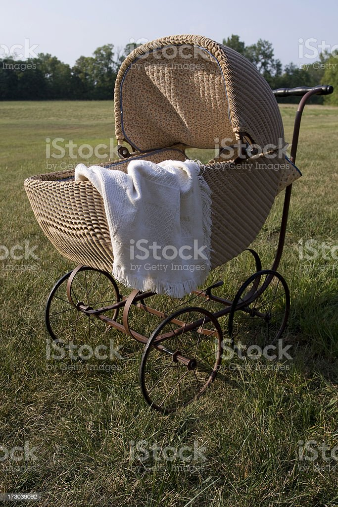 Antique Pram in Field royalty-free stock photo