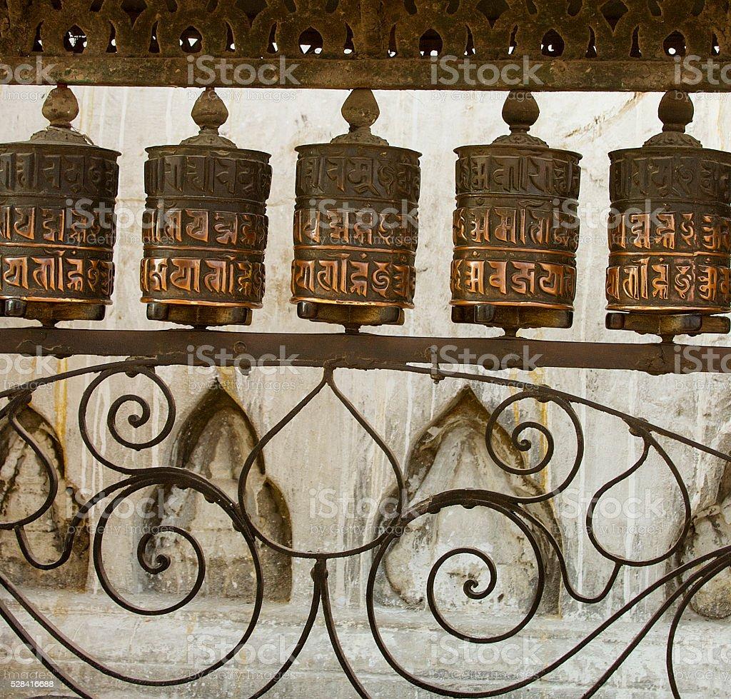 Antique Prayer Wheels Katmandu Nepal stock photo
