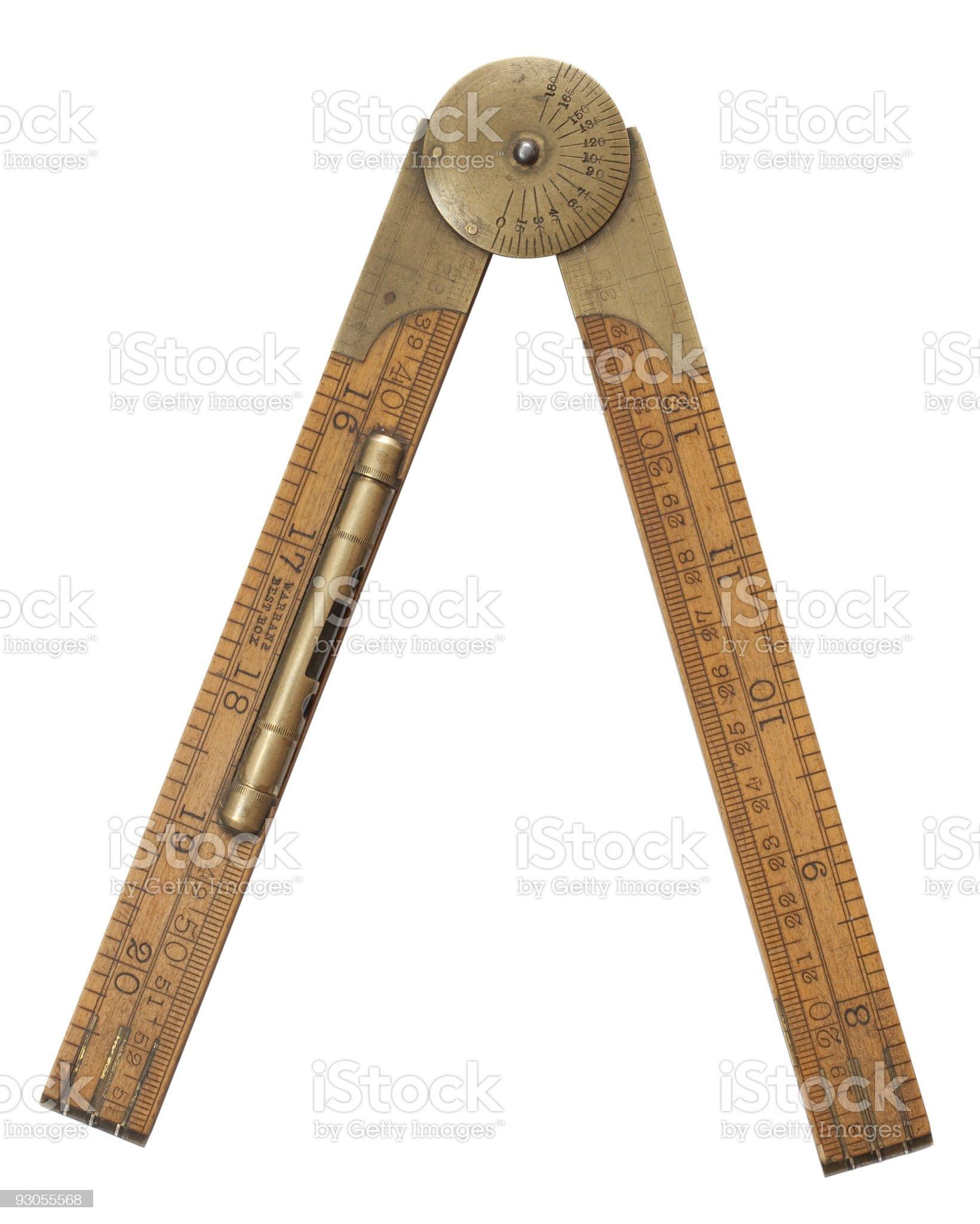Antique Rabone carpenter boxwood folding ruler royalty-free stock photo