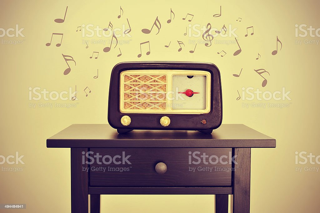antique radio and musical notes royalty-free stock photo