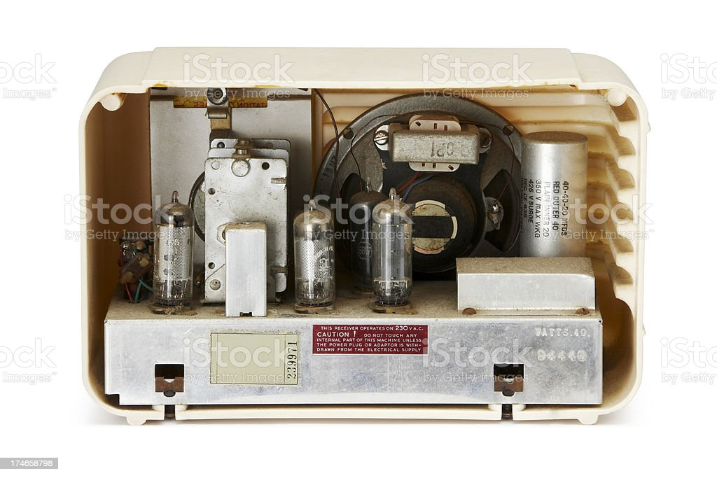 Antique Radio internal workings stock photo