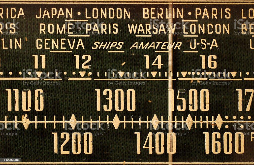 Antique radio tuner stock photo
