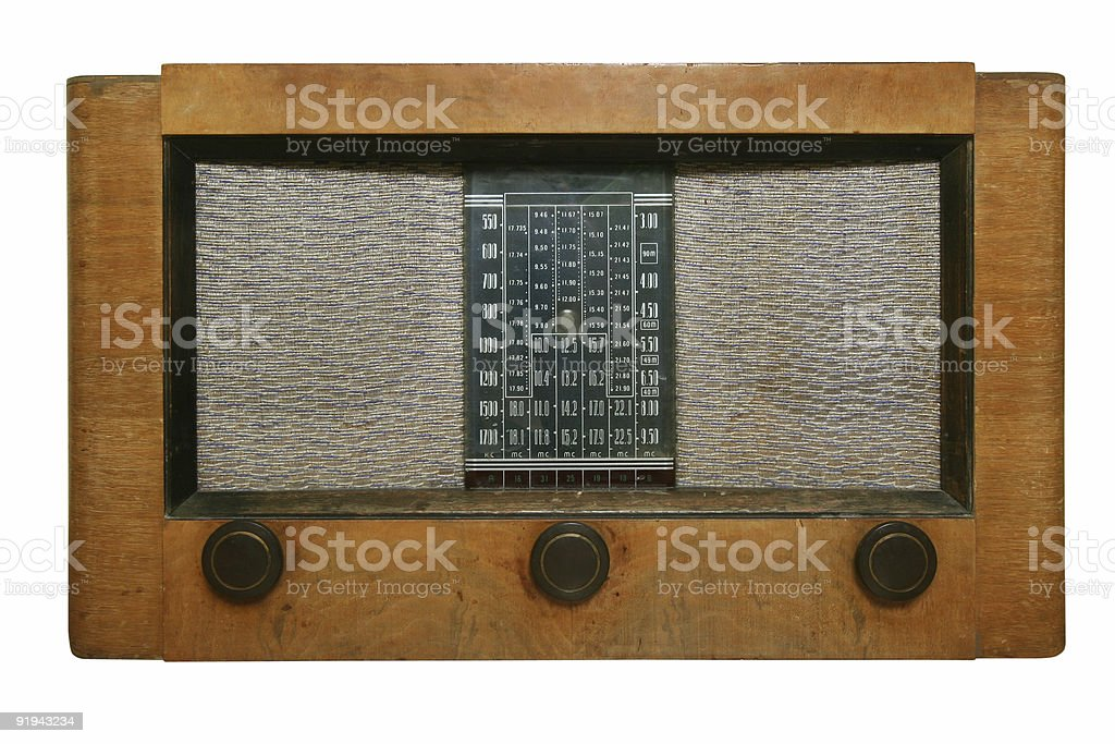 Antique radio with path royalty-free stock photo