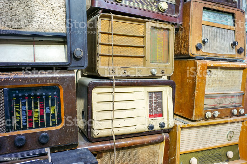 antique radios on sale at flea market in ankara turkey stock photo
