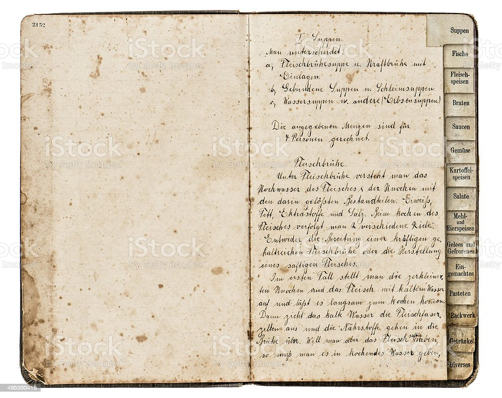 antique recipe book with handwritten text stock photo