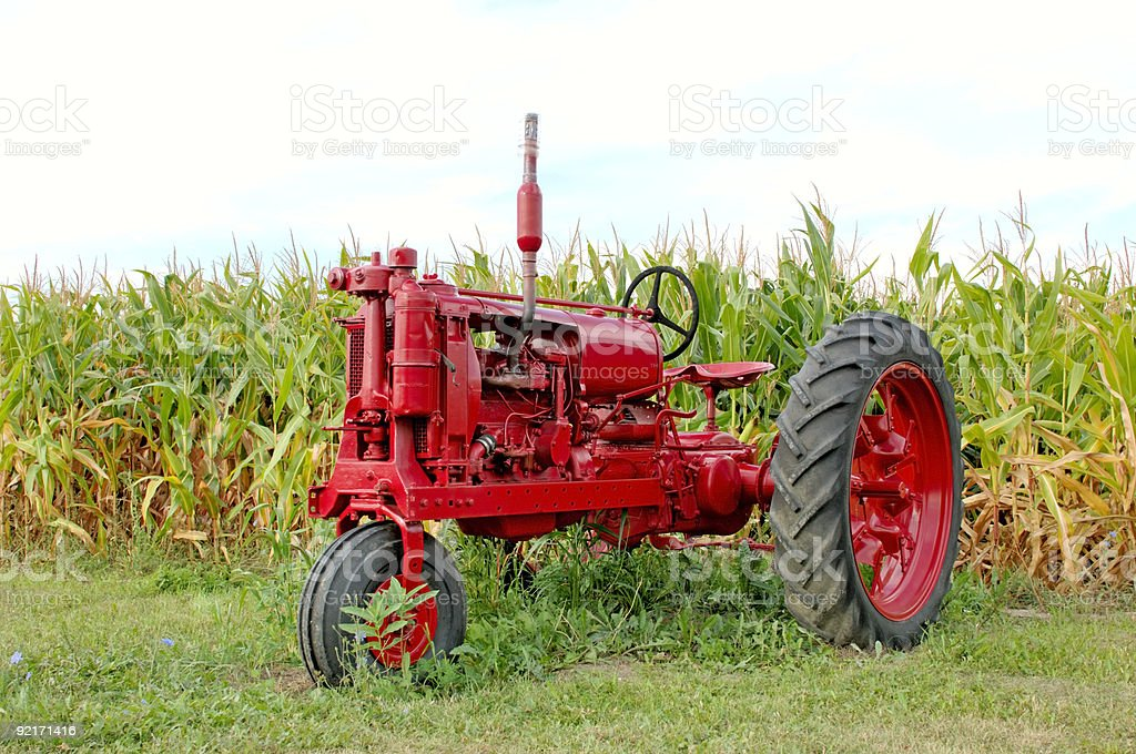 Antique Red Tractor and Corn royalty-free stock photo