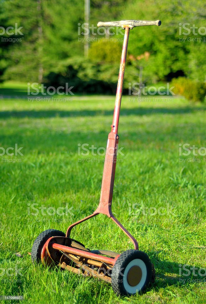 Antique Reel Mower stock photo