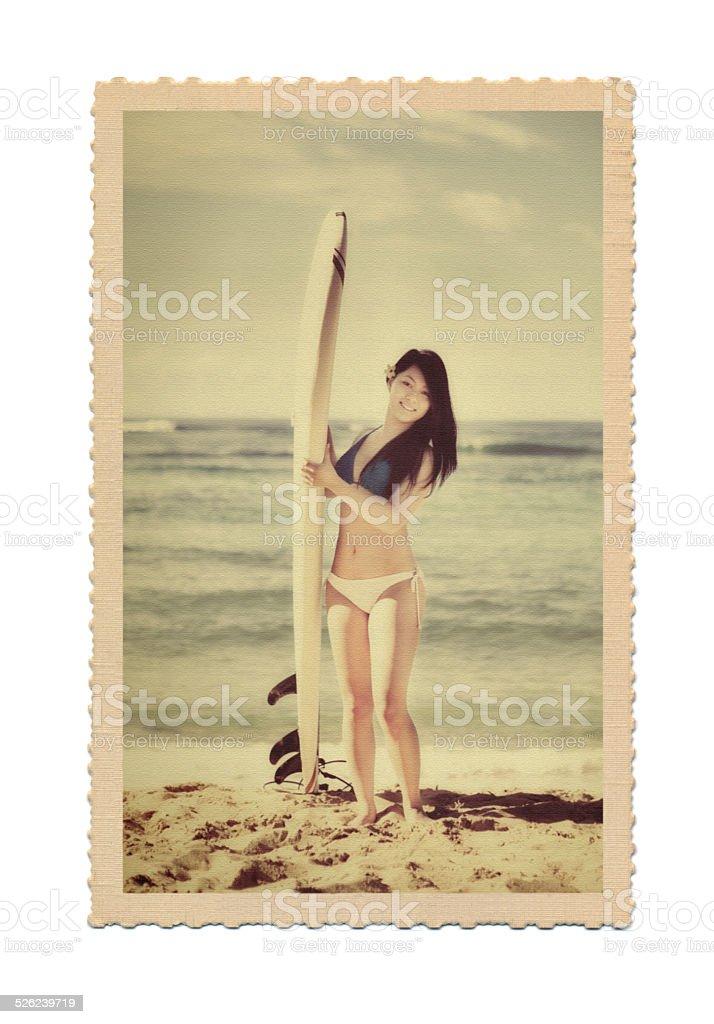 Antique Retro Postcard Photo of Hawaiian Woman Surfer on Beach stock photo