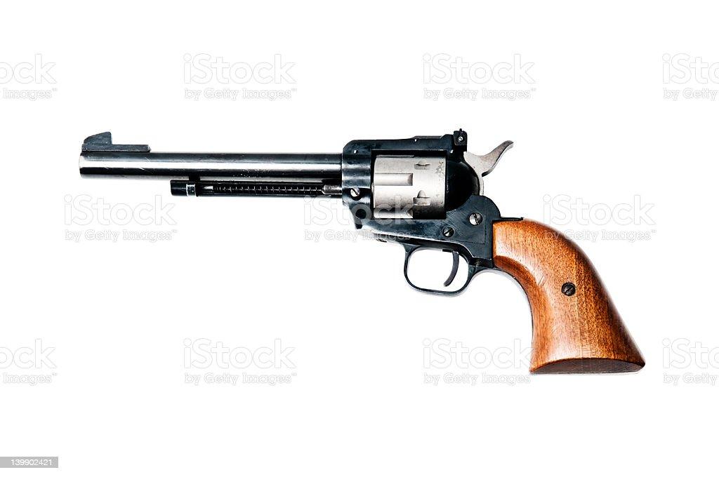 Antique revolver handgun isolated on white stock photo