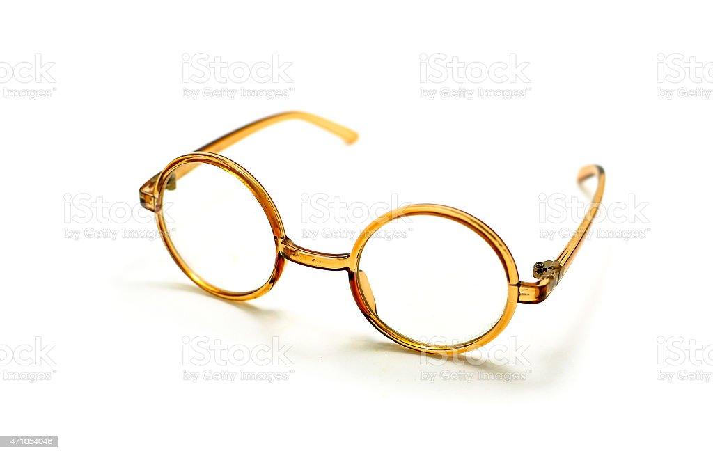 antique  Rim Glasses on a White Background. stock photo