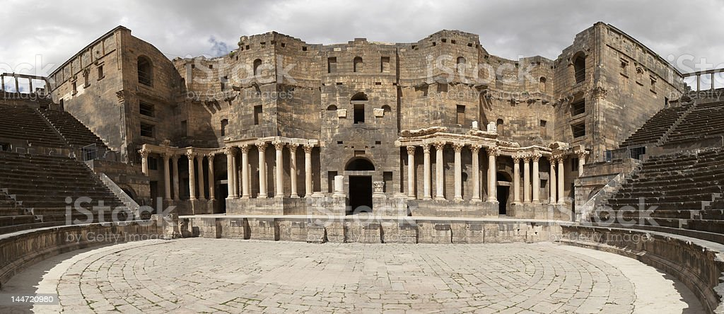 Antique Roman Amphitheater in Bosra (Syria) stock photo