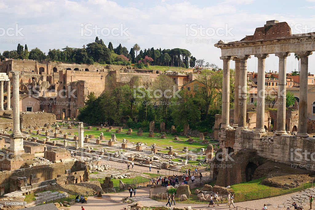 Antique roman forum ruins royalty-free stock photo
