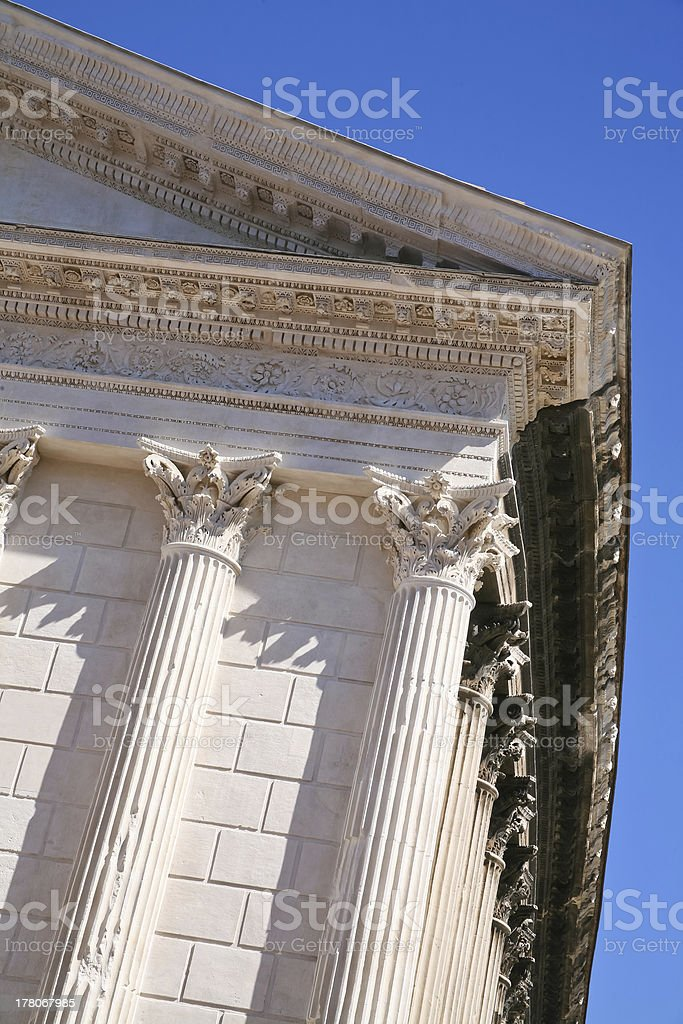 antique Roman temple in Nimes, France stock photo