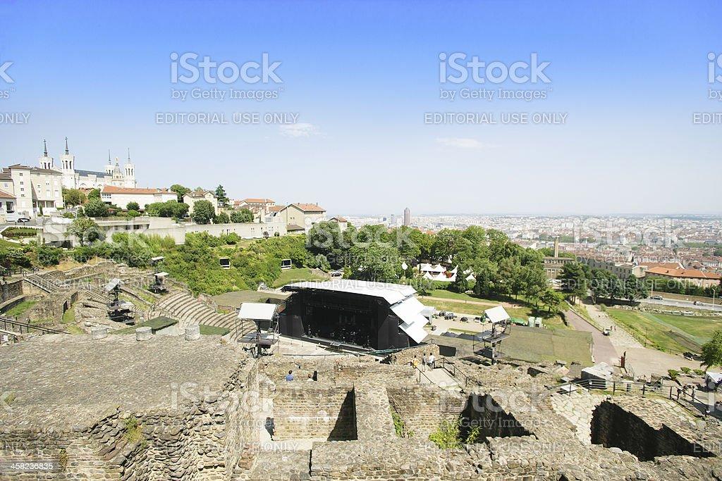 Antique roman theatre stock photo