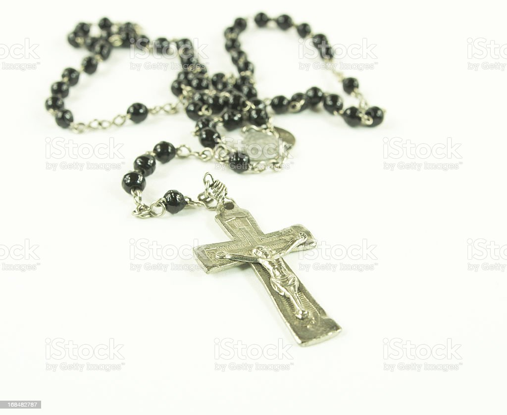 Antique Rosary With Silver Crucifix stock photo