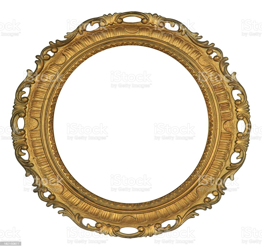 Antique Round Gold Frame stock photo