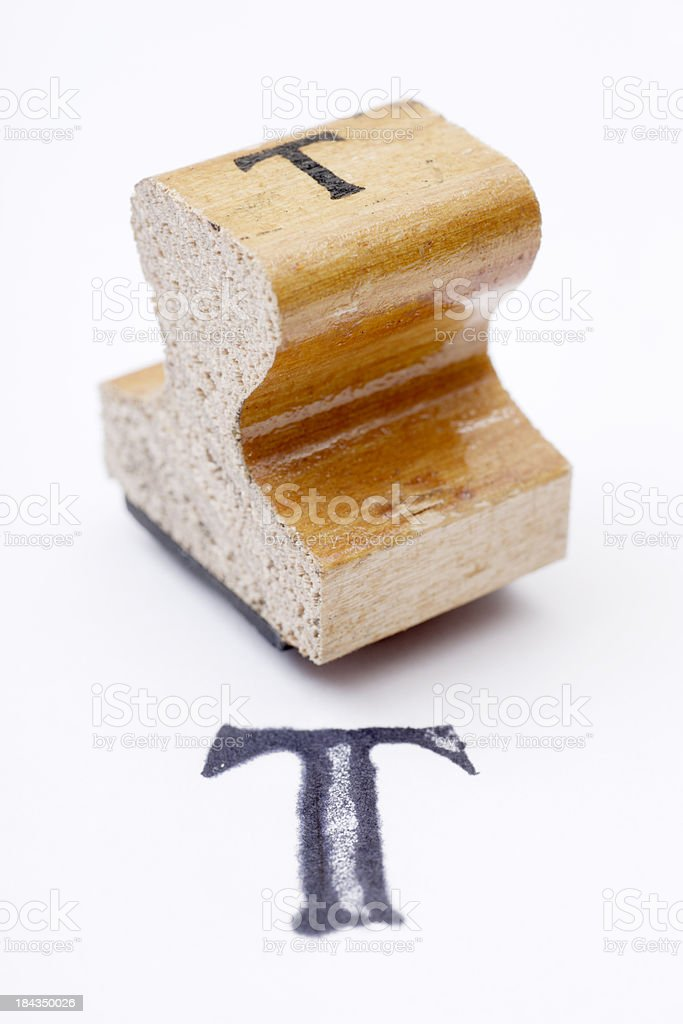 Antique Rubber Stamp T royalty-free stock photo