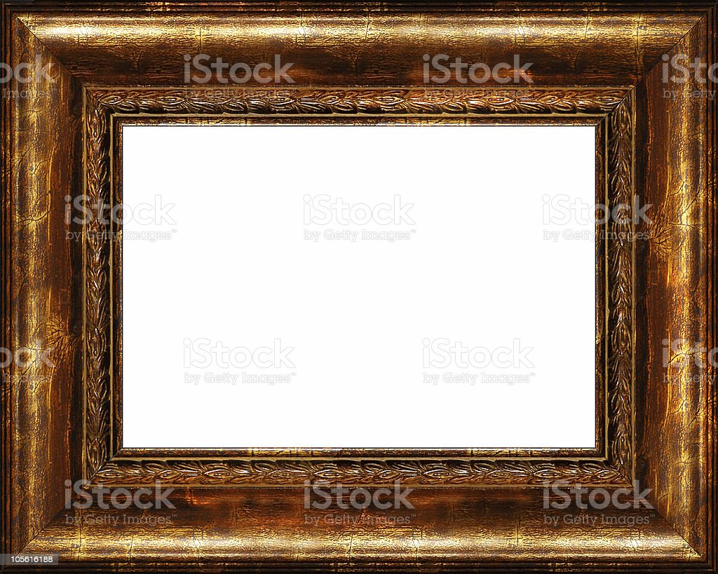 Antique rustic dark golden picture frame isolated stock photo