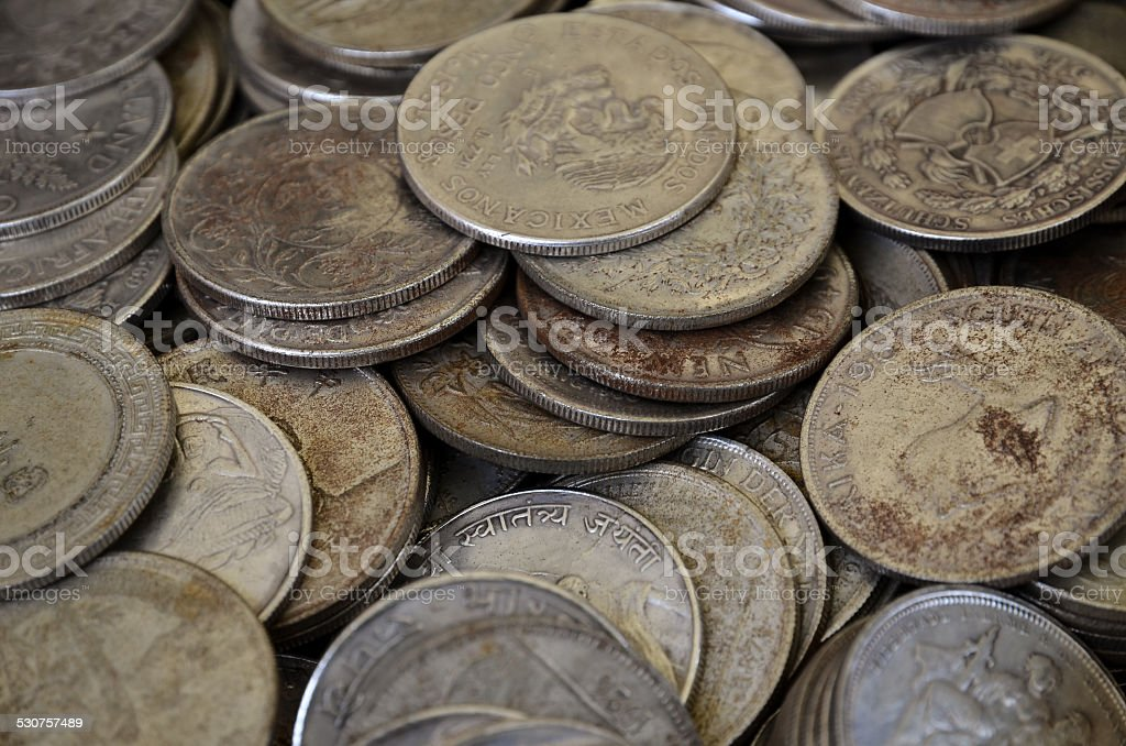 antique rusty coins stock photo