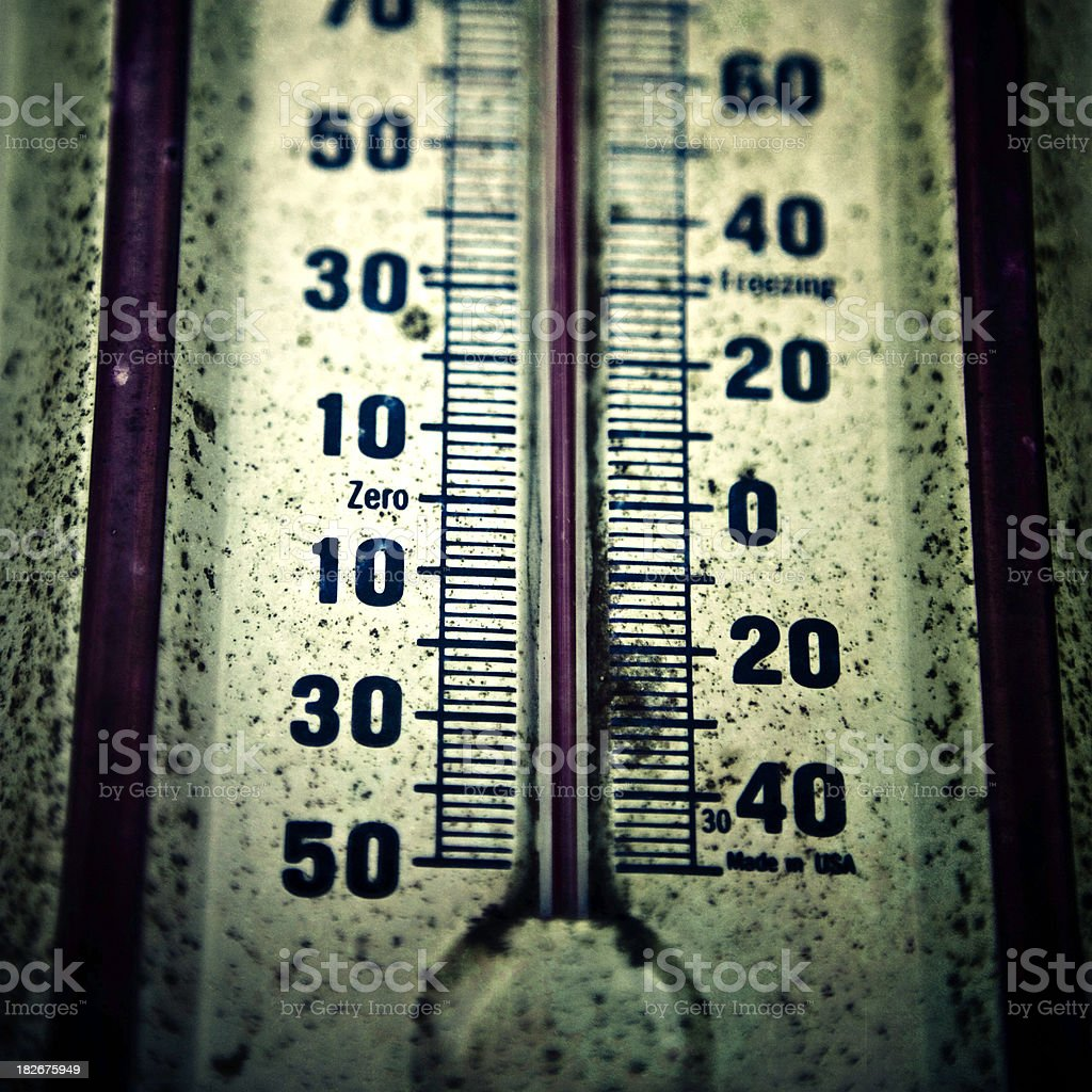 antique rusty outdoors thermometer stock photo