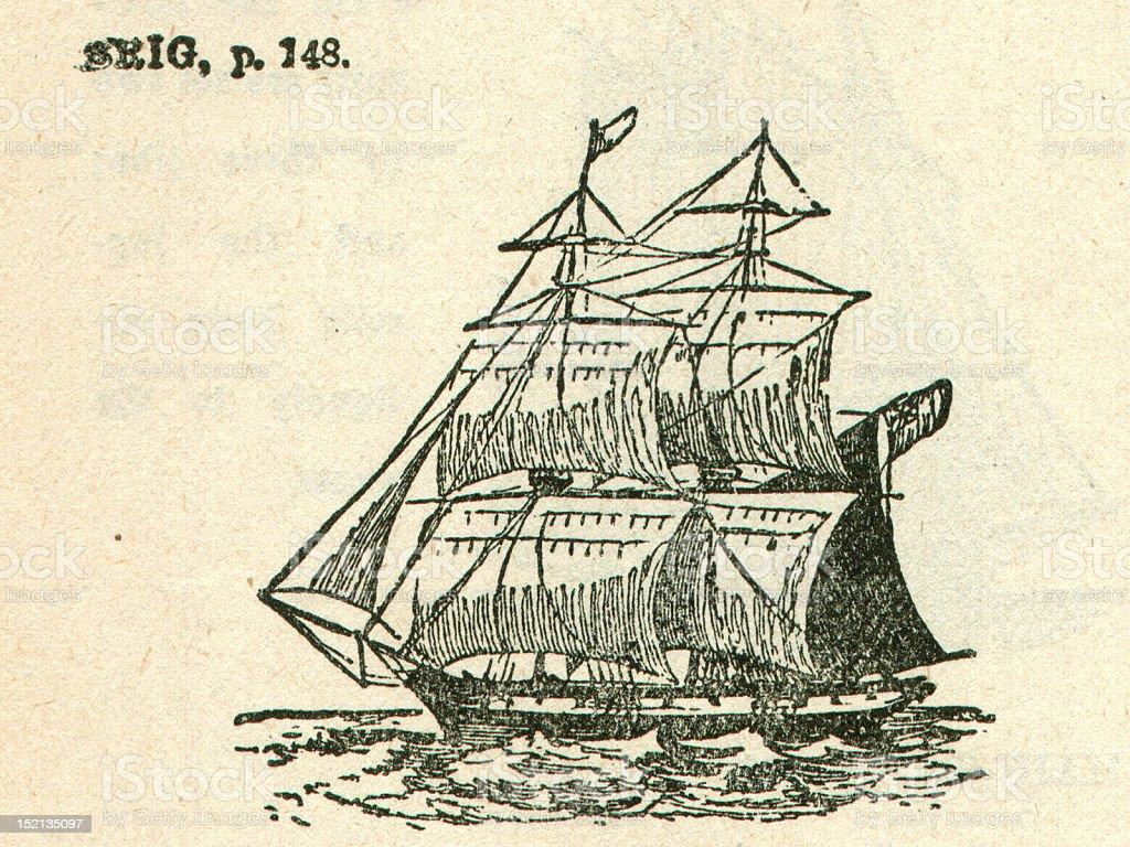 Antique Sailing Boat Brig Ship Illustration stock photo