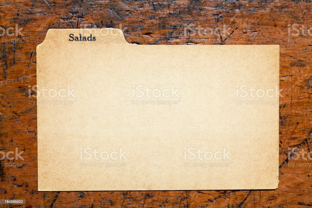 Antique Salad Blank Index Recipe, Old Fashioned Paper Card Background stock photo