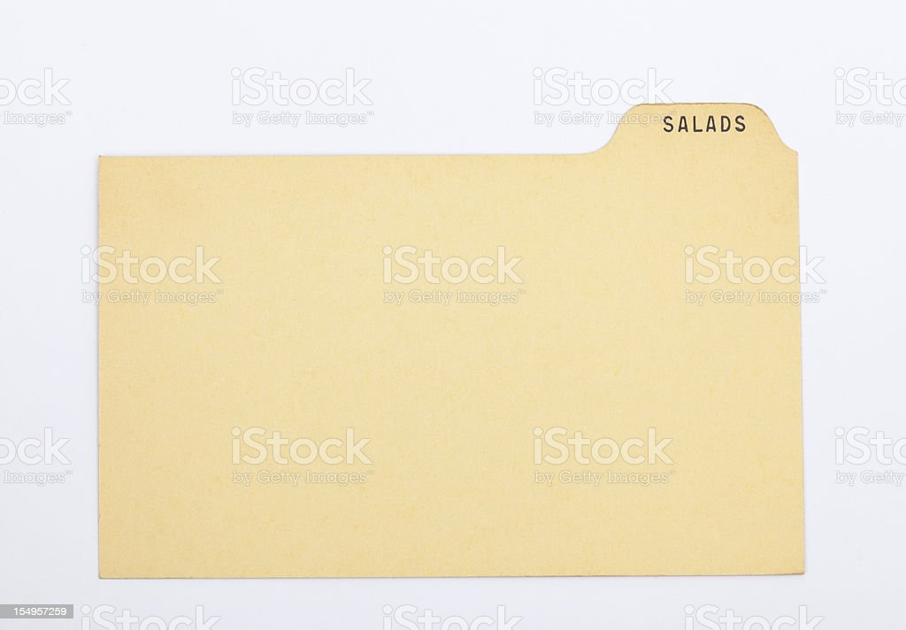 Antique Salad Index Recipe & Old Fashioned Card, Vintage Paper Background stock photo