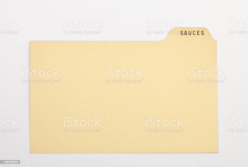 Antique Sauce Index Recipe & Old Fashioned Card, Vintage Paper Background stock photo