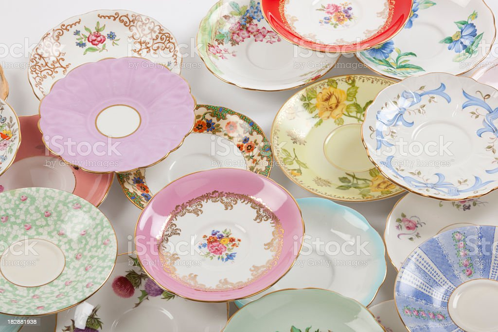 Antique saucers royalty-free stock photo