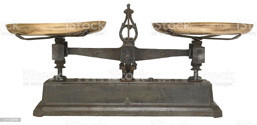 Antique Scales isolated on white stock photo
