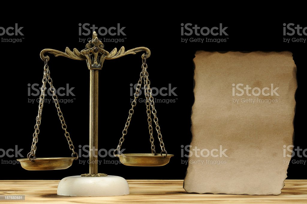 Antique Scales with Paper royalty-free stock photo