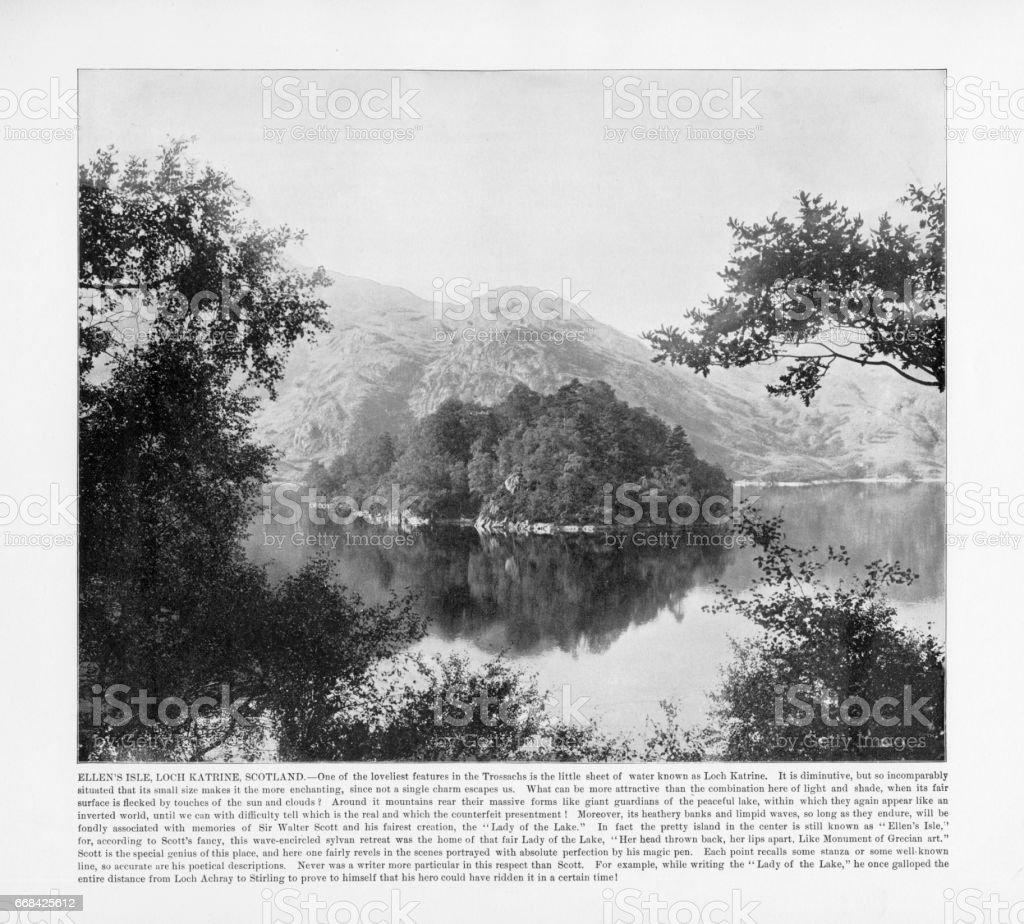 Antique Scotland Photograph: Ellen's Isle, Loch Katrine, Scotland, 1893 stock photo