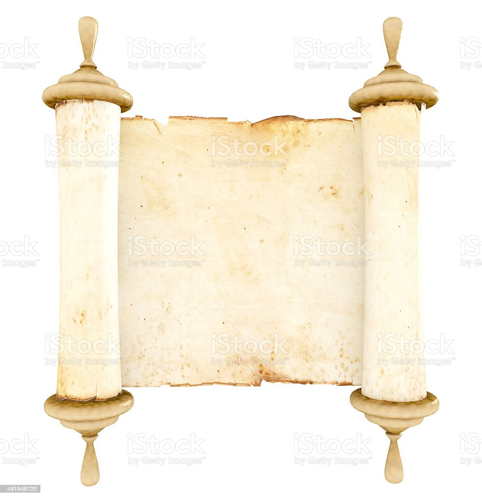 Antique scroll paper stock photo