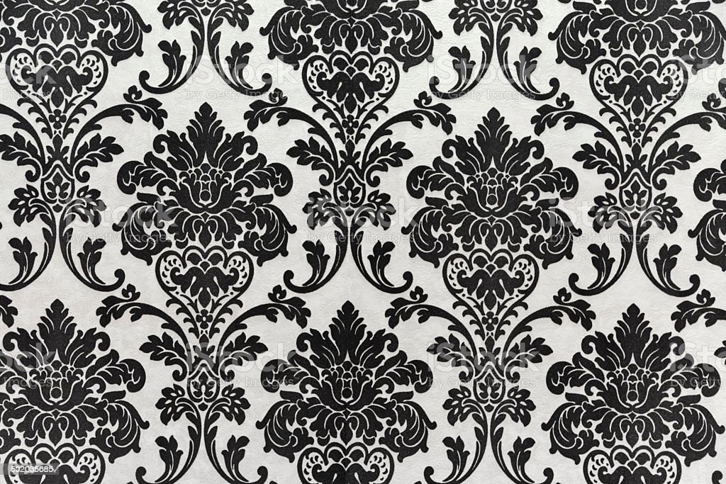 Antique seamless wallpaper pattern, black stock photo