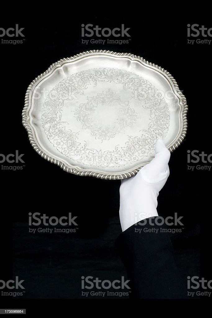 Antique serving tray-single hand presentation royalty-free stock photo