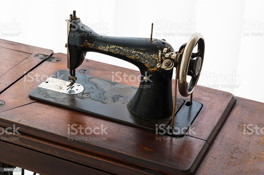 Antique sewing machine stock photo