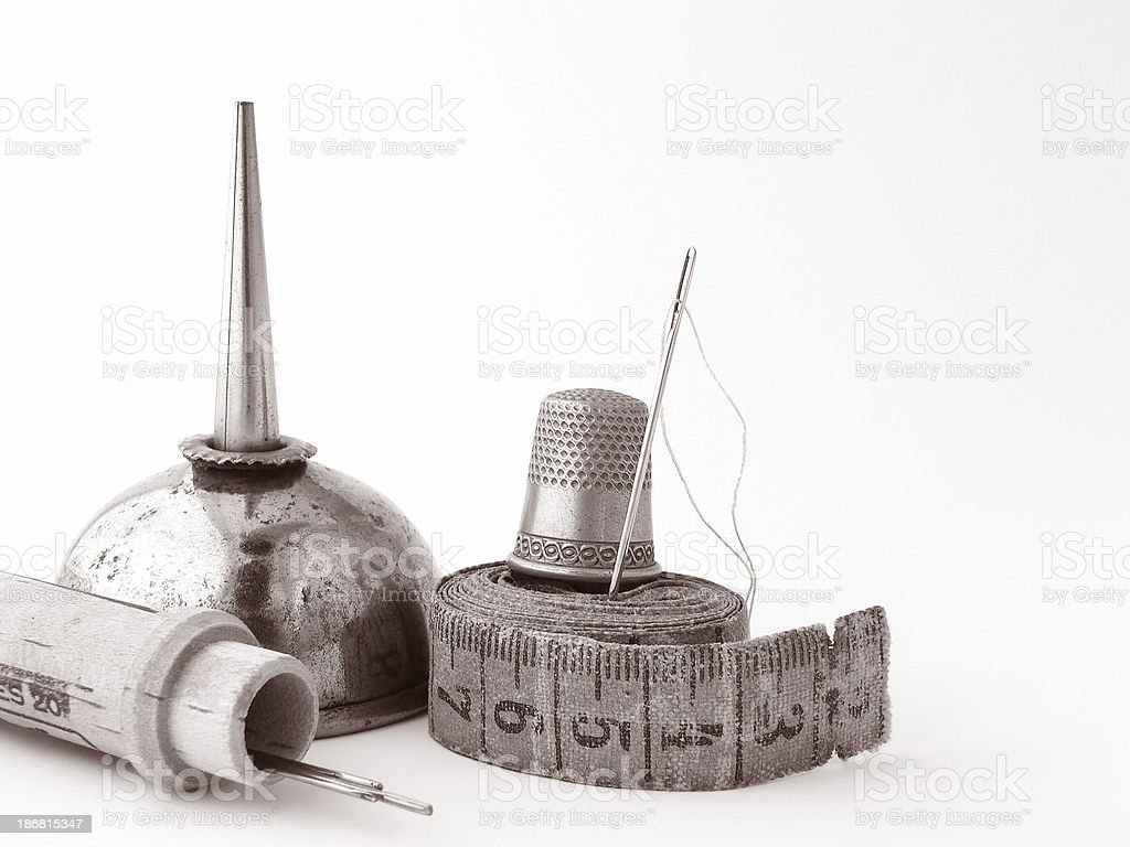 Antique sewing notions (sepia) royalty-free stock photo
