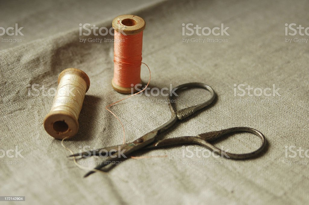 antique sewing scissors and thread royalty-free stock photo