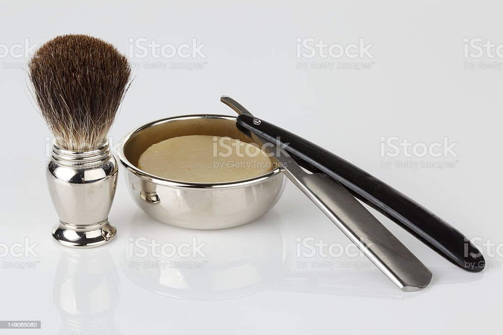antique shaving kit on an isolated background. stock photo