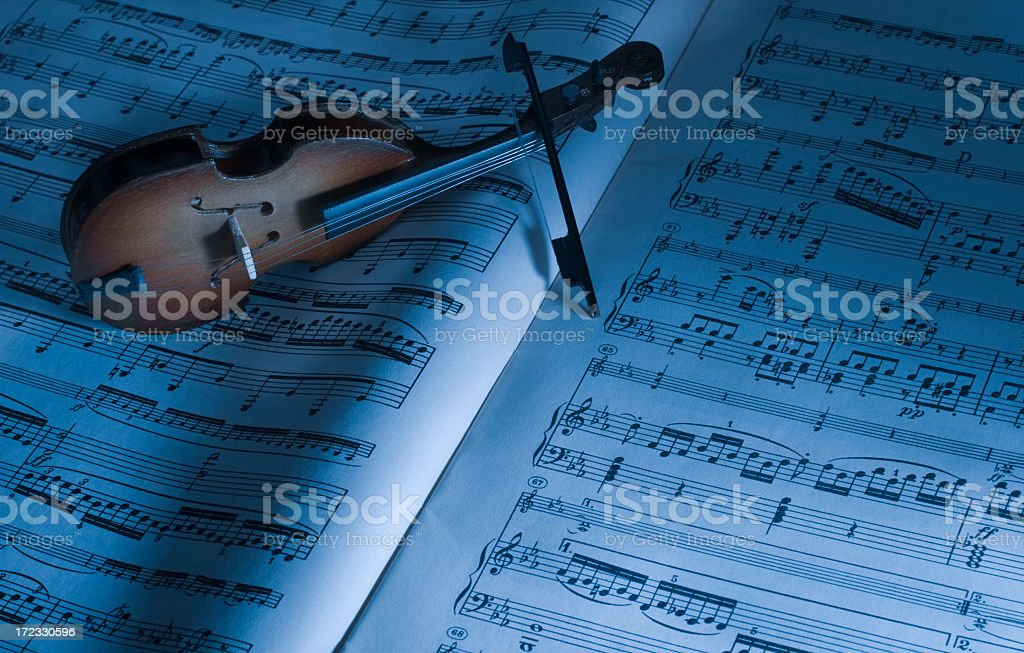 Antique Sheet Music and violin stock photo