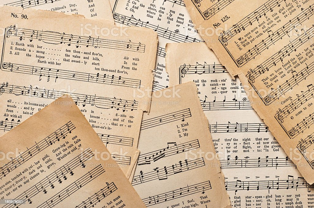Antique Sheet Music stock photo