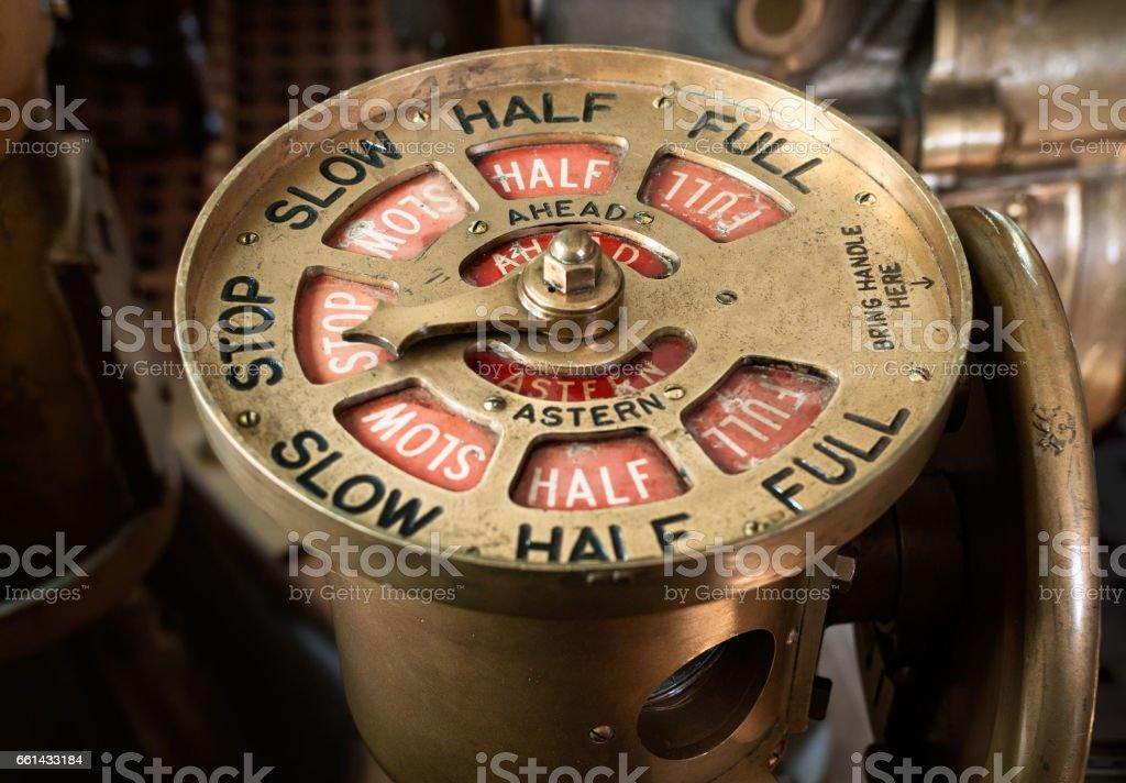 Antique ships telegraph set to stop stock photo