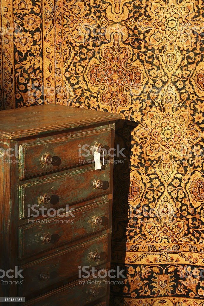 Antique Shop Chest and Rug royalty-free stock photo