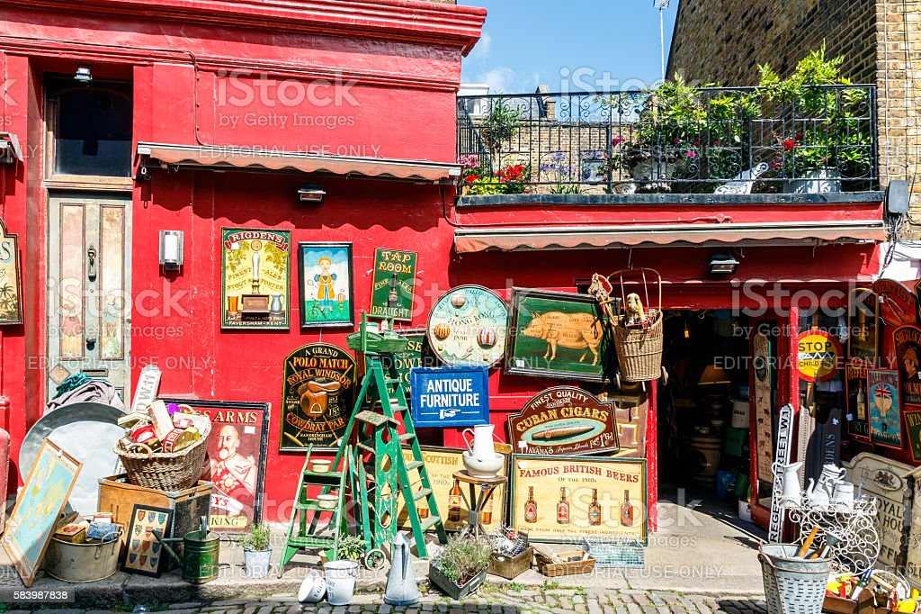Antique Shop in Notting Hill stock photo