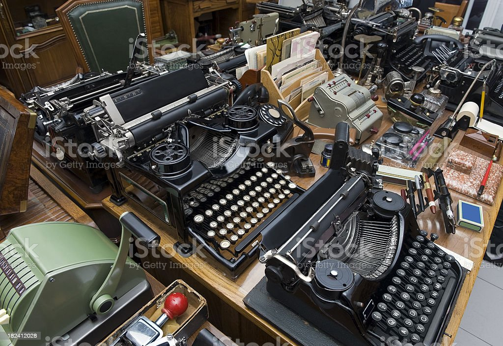 Antique shop, office equipment. royalty-free stock photo
