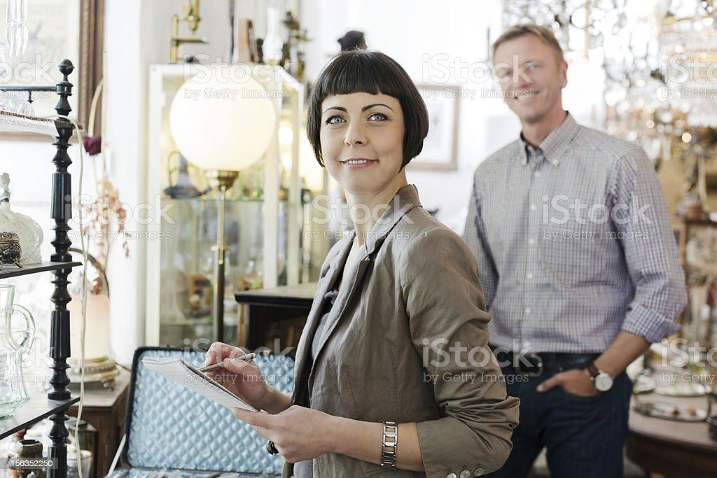 Antique shop owners royalty-free stock photo